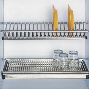 Giá để bát đĩa 2 tầng có khay đựng nước nằng inox 304